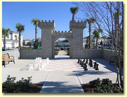 Castle playground with large chess set